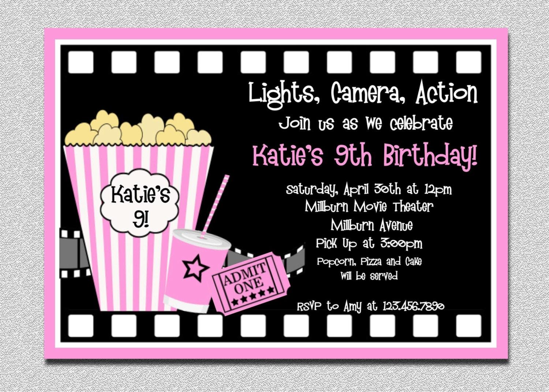 Movie Birthday Invitations Movie Night Birthday Party Invitation ...