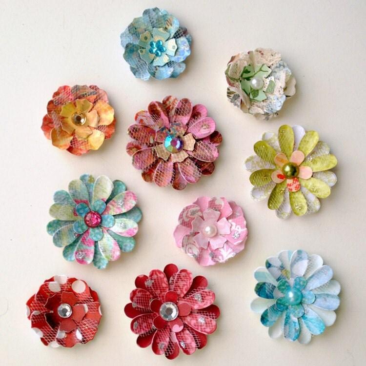 10 Handmade DIMENSIONAL PAPER FLOWERS