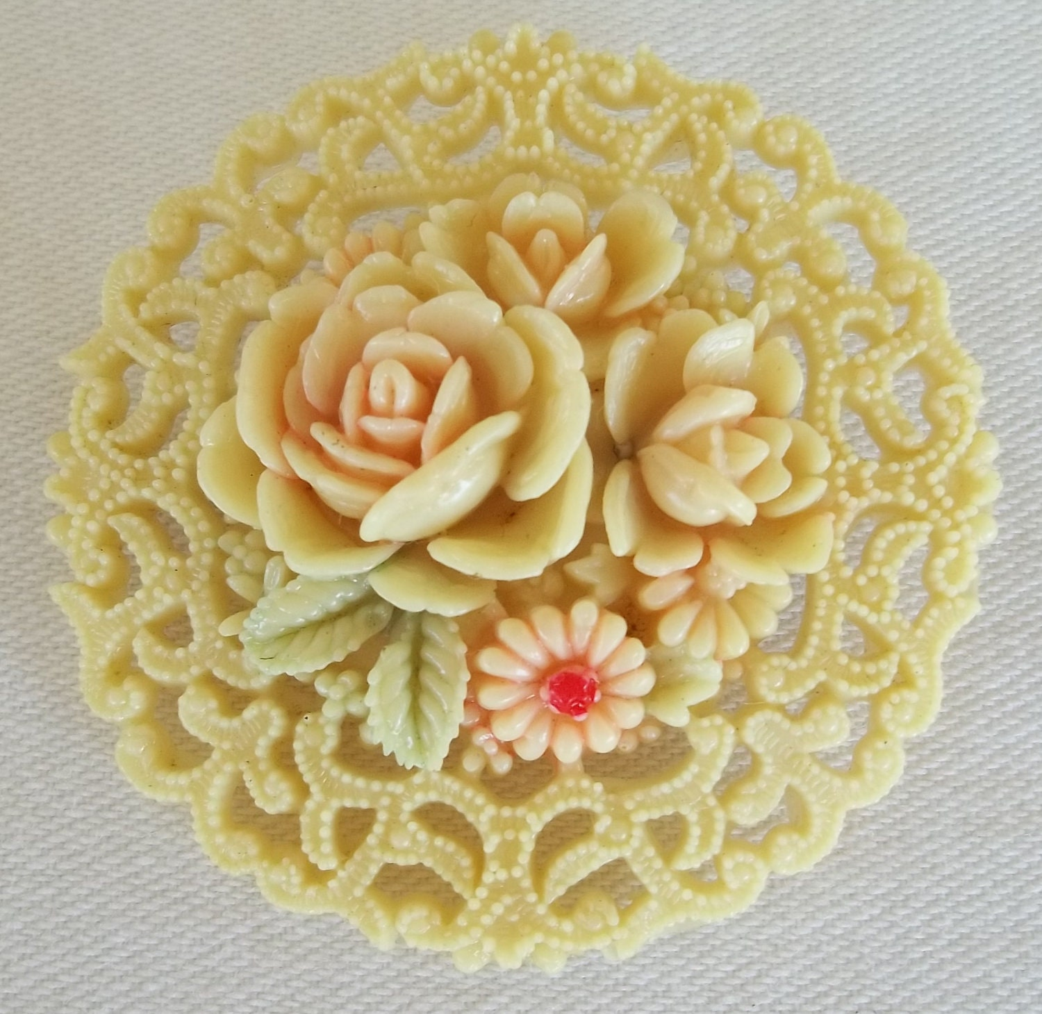 Vintage 1940's Carved Celluloid Pin Brooch Occupied Japan Roses Daisy Flowers - FarisMandyEtsy