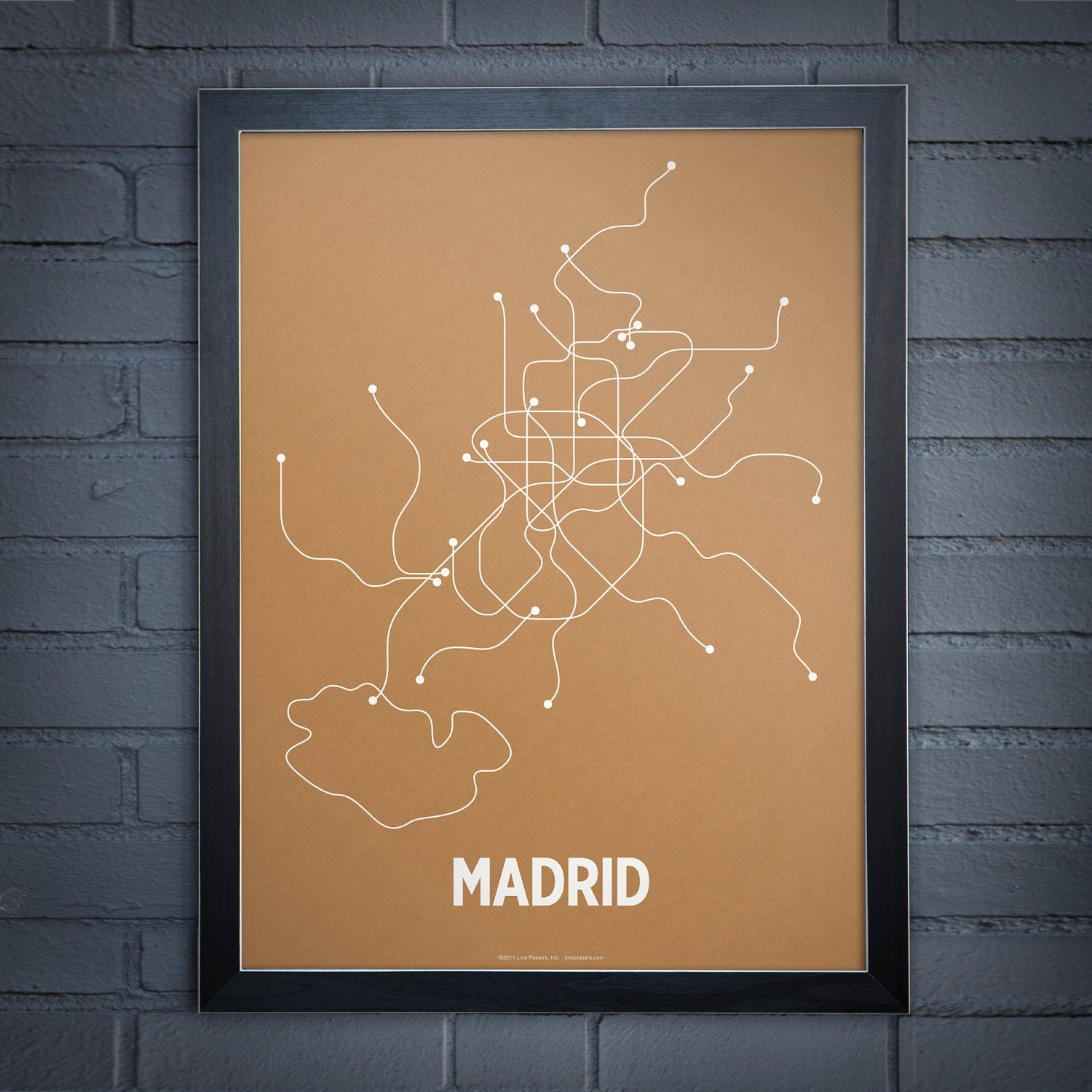 Madrid Lineposter Screen Print - Orange/Pearl White