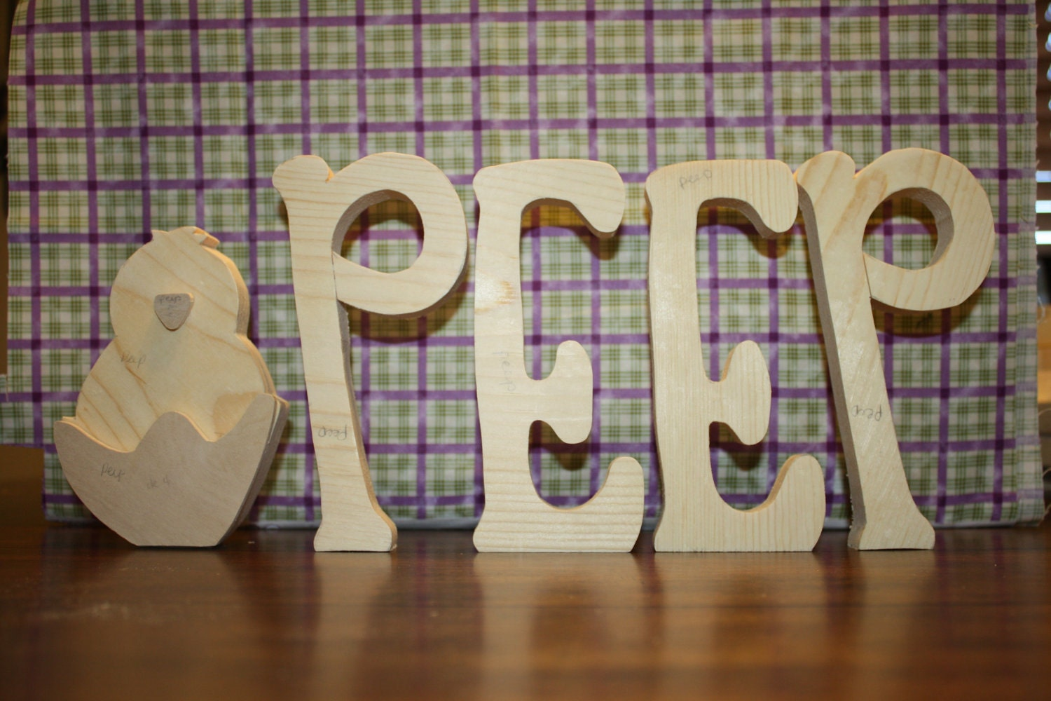 UNFINISHED  PEEP wood letters with cute chick.