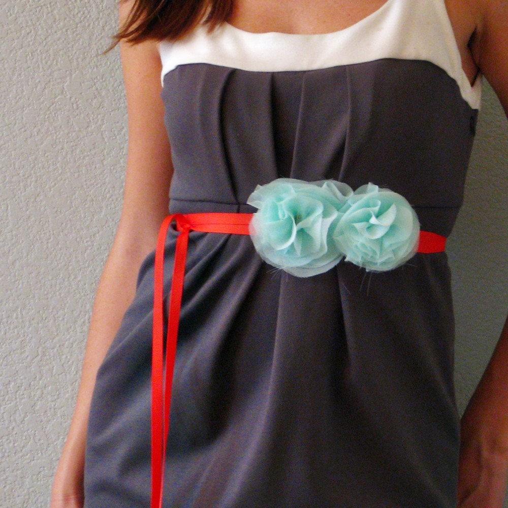 Fabric Flower Grosgrain Ribbon Belt - Aqua and Poppy Red