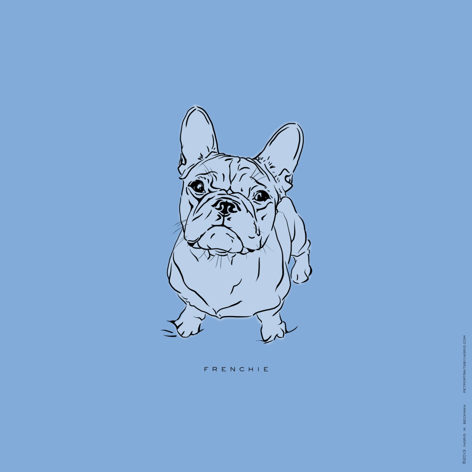 Line Art Etsy : French bulldog digital art print personalize by lineartprints