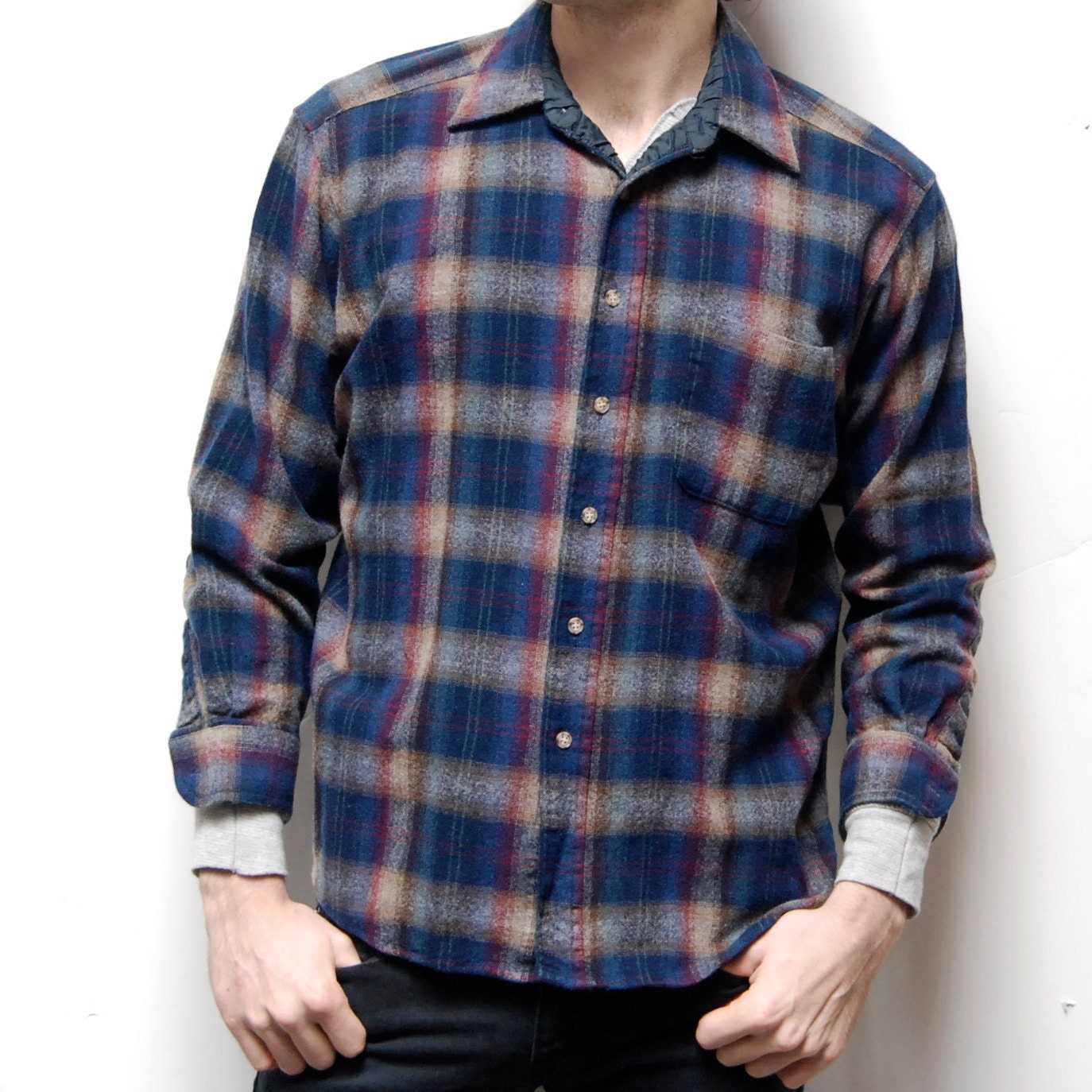 PENDLETON tartan long sleeve PLAID button up wool FLANNEL