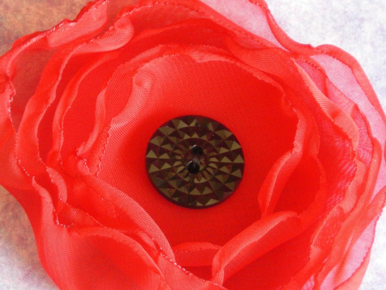 A poppy - red chiffon hair clip brooch pin handmade