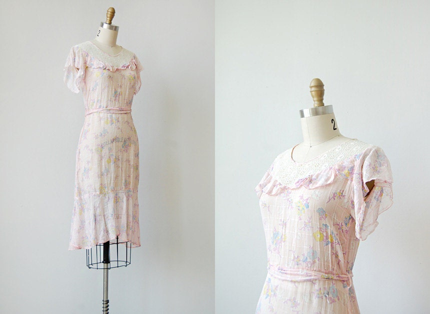 vintage 1920s pink cotton dress | LYCHEE ROSE DRESS