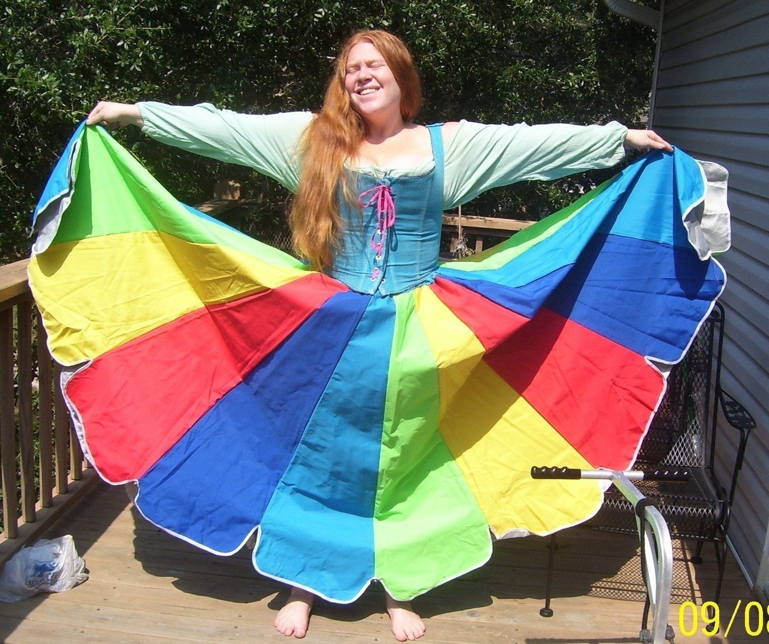 Vibrant Multi-colored Upcycled Umbrella Skirt