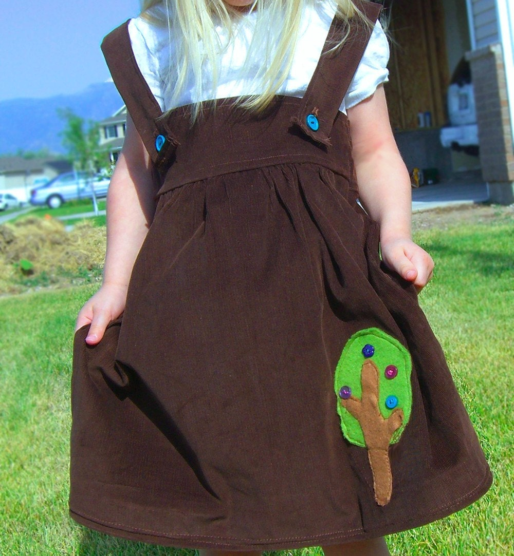 Brown Corduroy Tree applique jumper 2t-3t outfit shirt