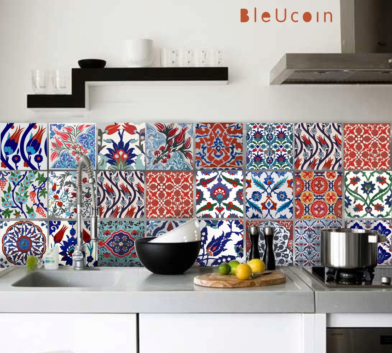 22 Designs With Amazing Morrocan Tile: Tile Decal Turkish Tile Decals 22 Designs 2 Sets 44 By