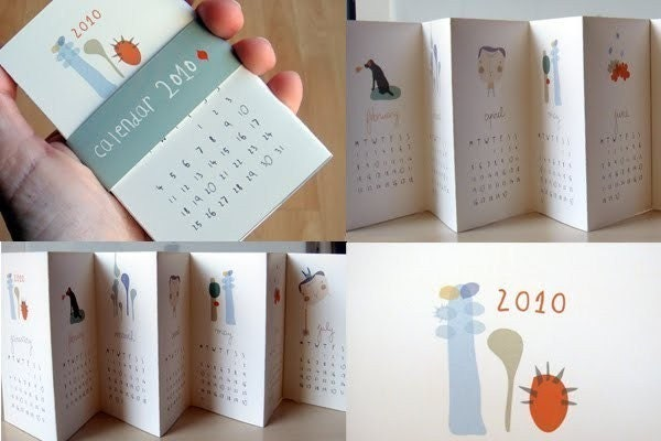 whimsical, accordian style calendar, via Etsy: yaelfran, USD$10