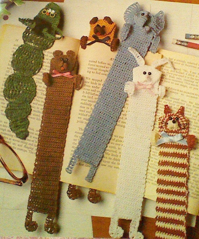 Knitted Cushion Cover Patterns : 6 Vintage Crochet Animal Bookmark Patterns by MAMASPATTERNS