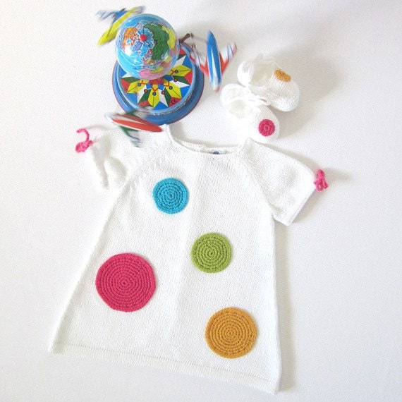 Knitted baby dress, white with big crochet dots. 100% cotton. Newborn. - tenderblue