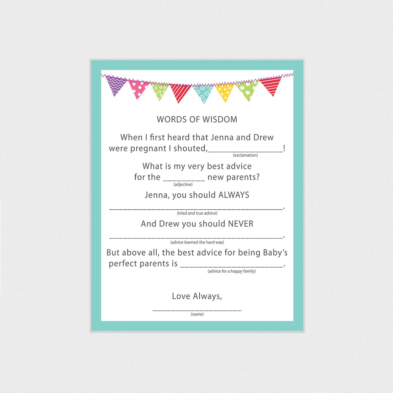 similar to baby shower game activity words of wisdom pdf