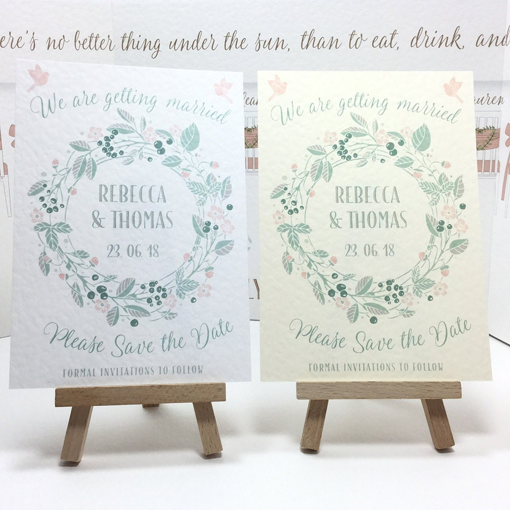Floral WREATH Boho Wedding SAVE the DATE cards Blush Pink  Shades of Green personalised and wax printed on Ivory or White textured card