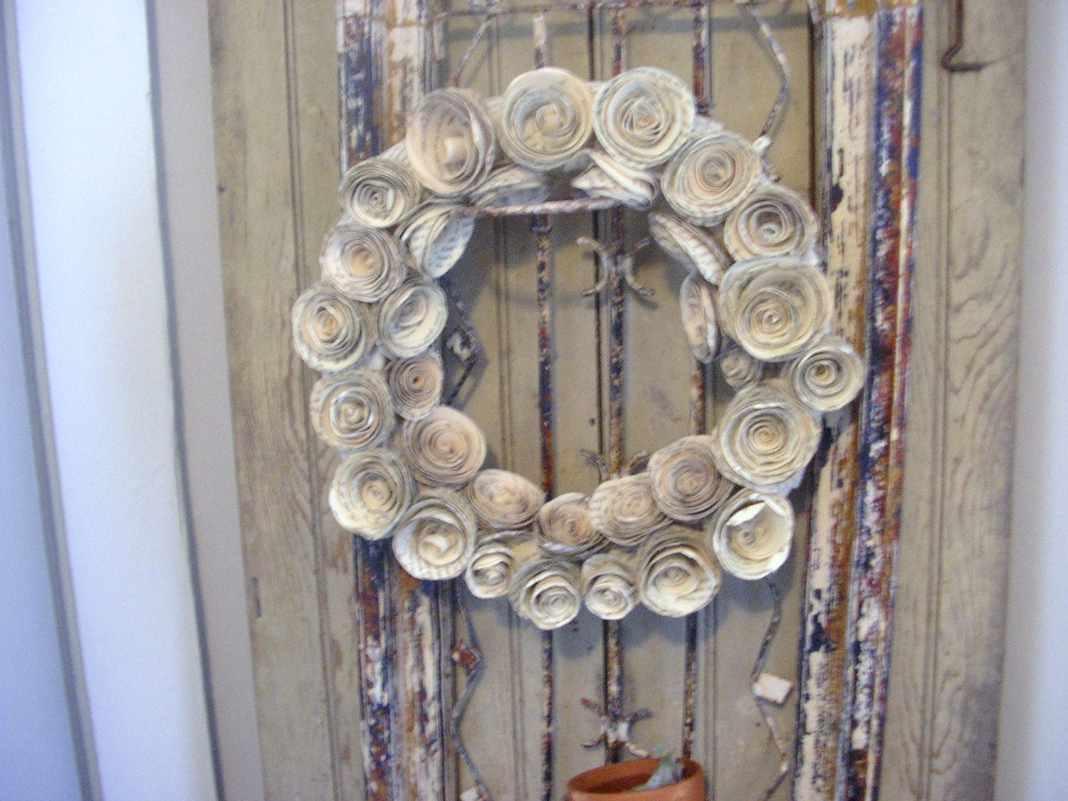 Book page roses wreath