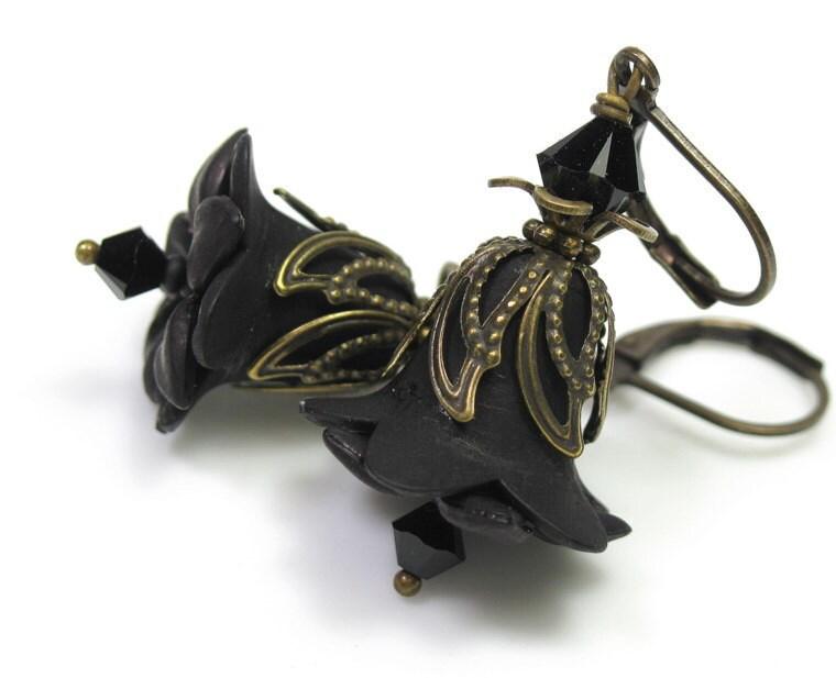 Jet Black Swarovski Vintage Style Lucite Flower Earrings