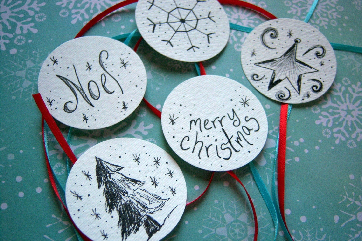 Discounted- Handrawn Christmas Ornaments (5 Tags)