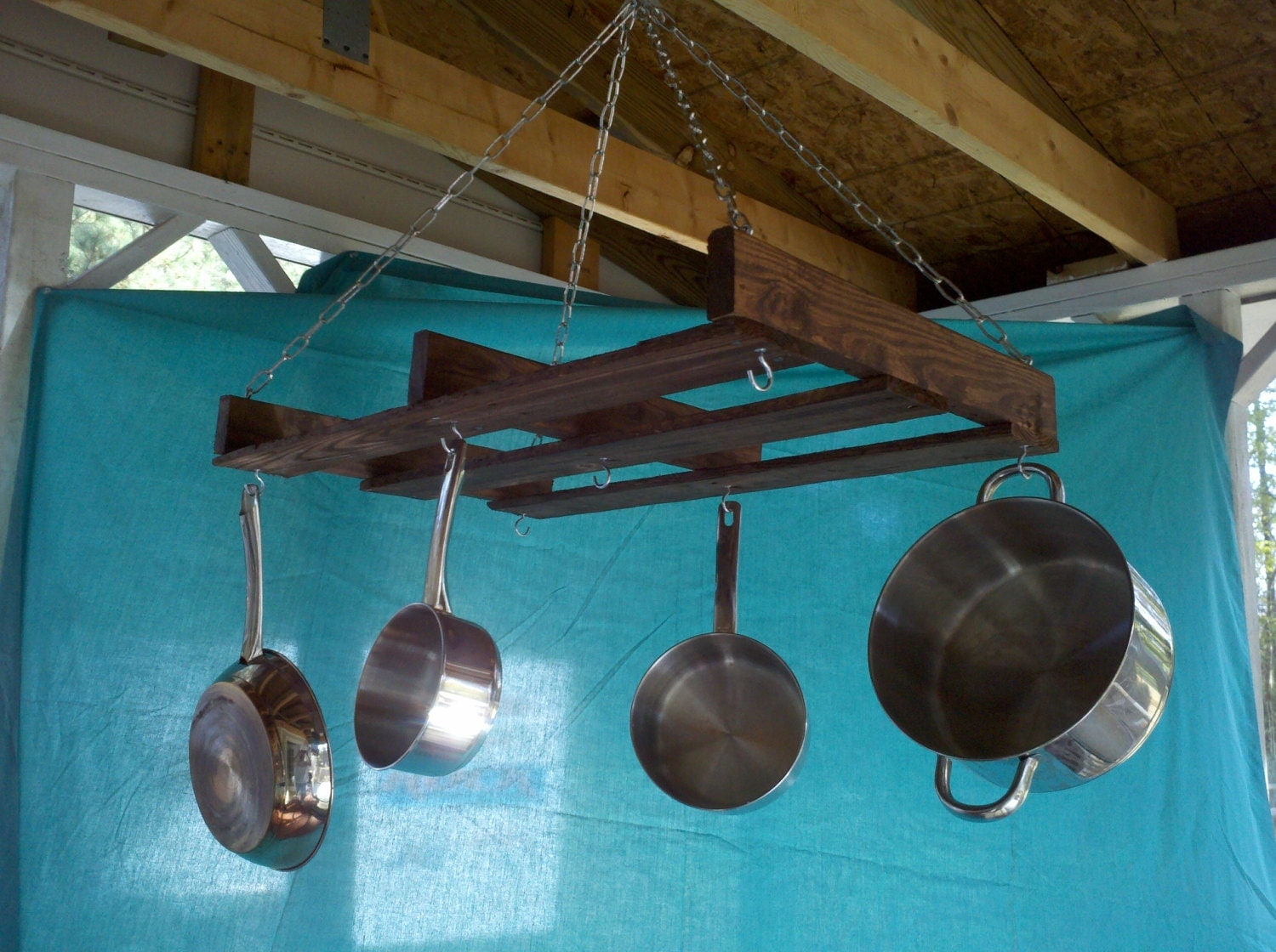 Items similar to rustic reclaimed pallet wood hanging pot for Reclaimed wood pot rack