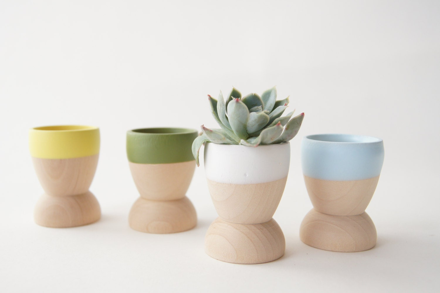 Mini Planters set of 4, Blue, Green, Yellow and White, Natural Wedding, Spring Decor - WindandWillowHome