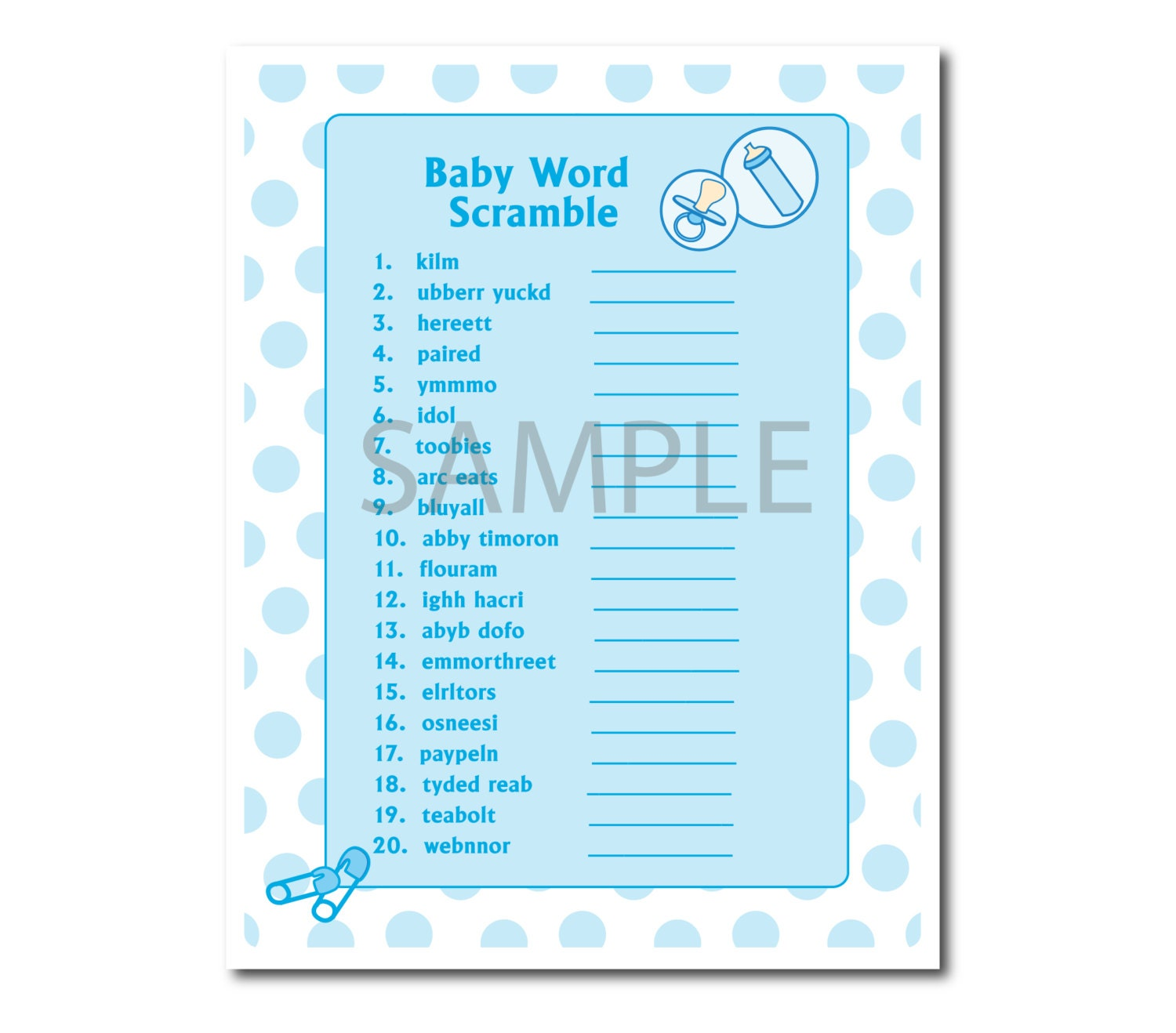 blue polka dots word scramble game for baby shower a fun baby shower