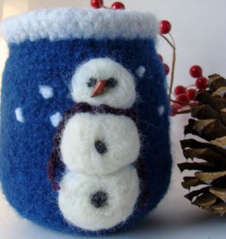 Felted Vase  - Snowman