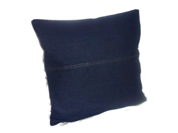 Dark Denim 17.5 inch square Pillows Covers Cushion upcycled blue jeans - Violawear