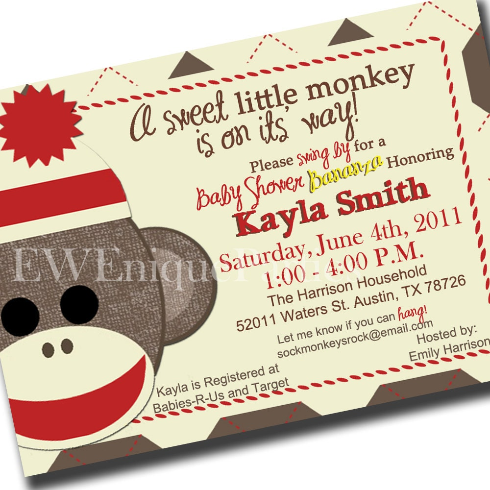 Sock Monkey Baby Shower Invitations is an amazing ideas you had to choose for invitation design