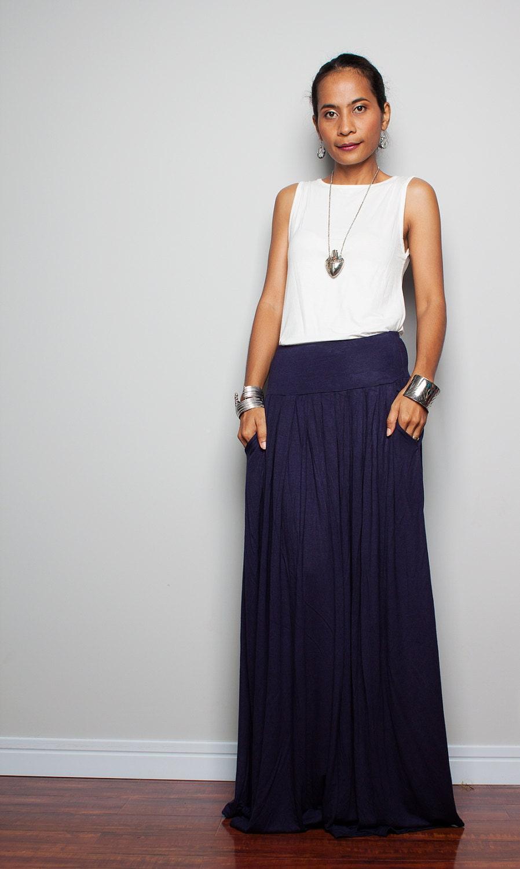 maxi skirt navy blue skirt autumn thrills by nuichan
