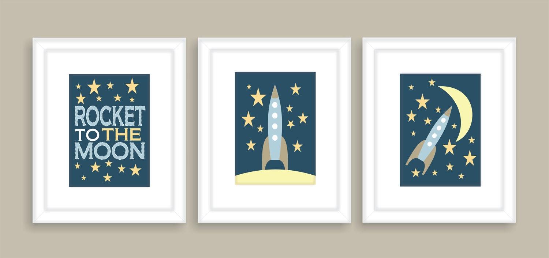 Rocket to the Moon Childrens Art Print, Nursery Wall Art, Playroom wall art -Set of three 11x14