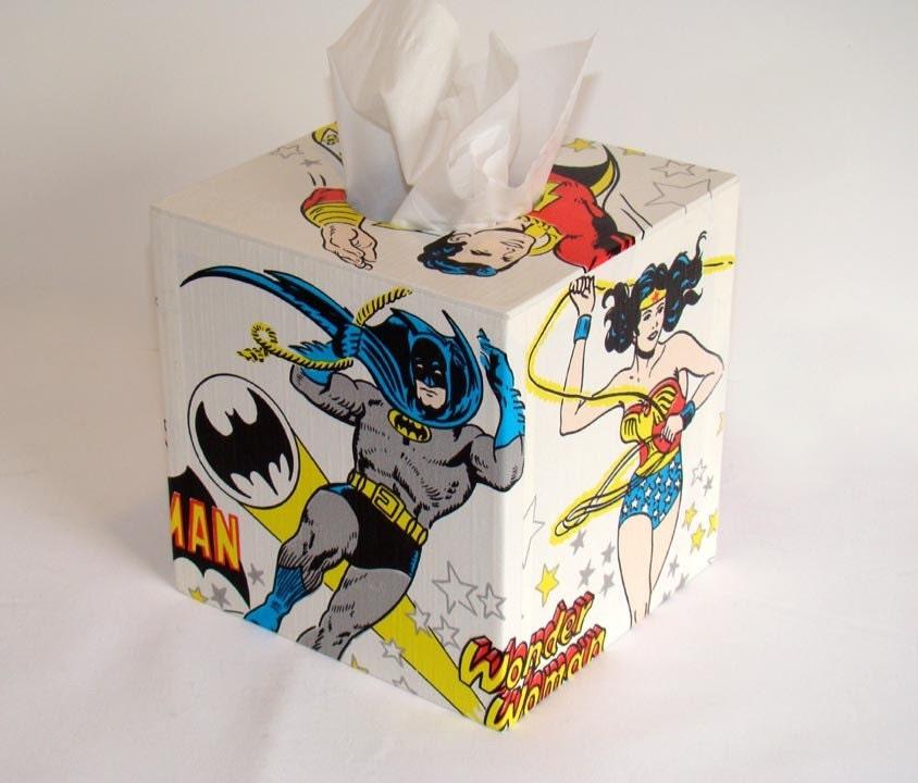 DC Comics Super Friends 1970's Vintage Wallpaper Tissue Box Cover