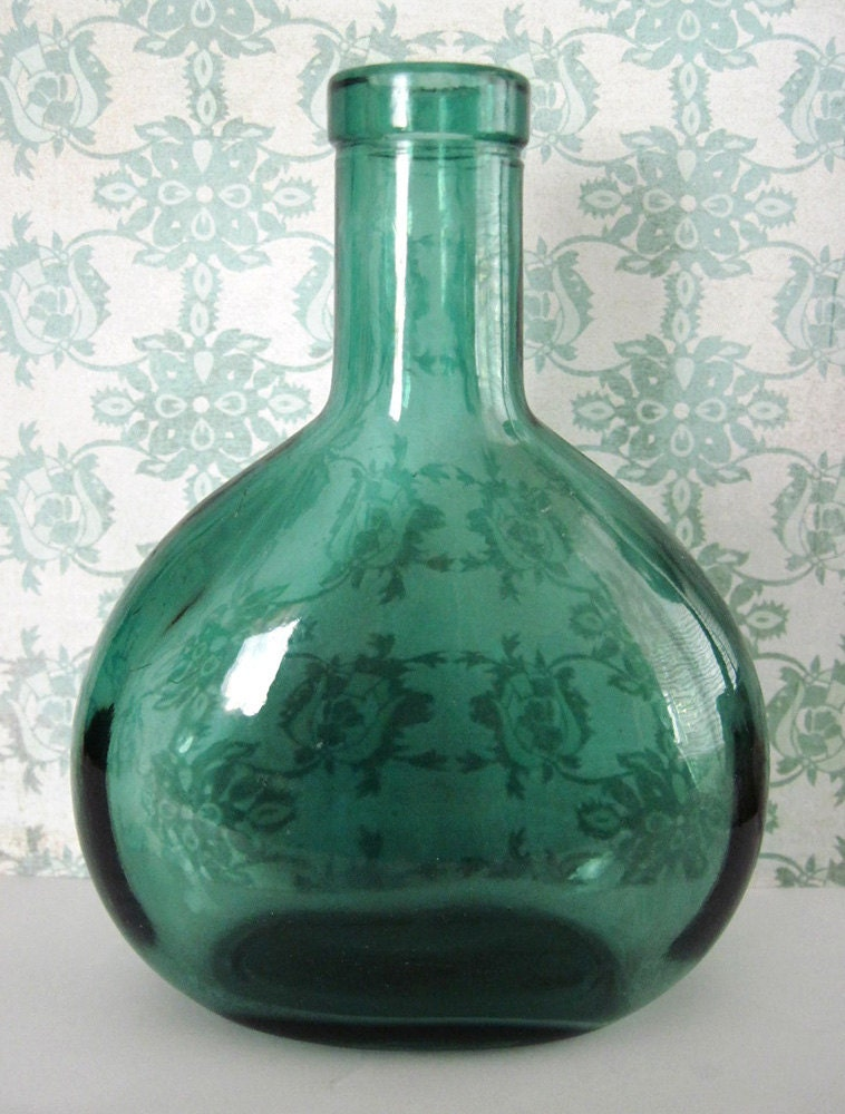 Vintage Green Glass Small Wine Bottle from Portugal