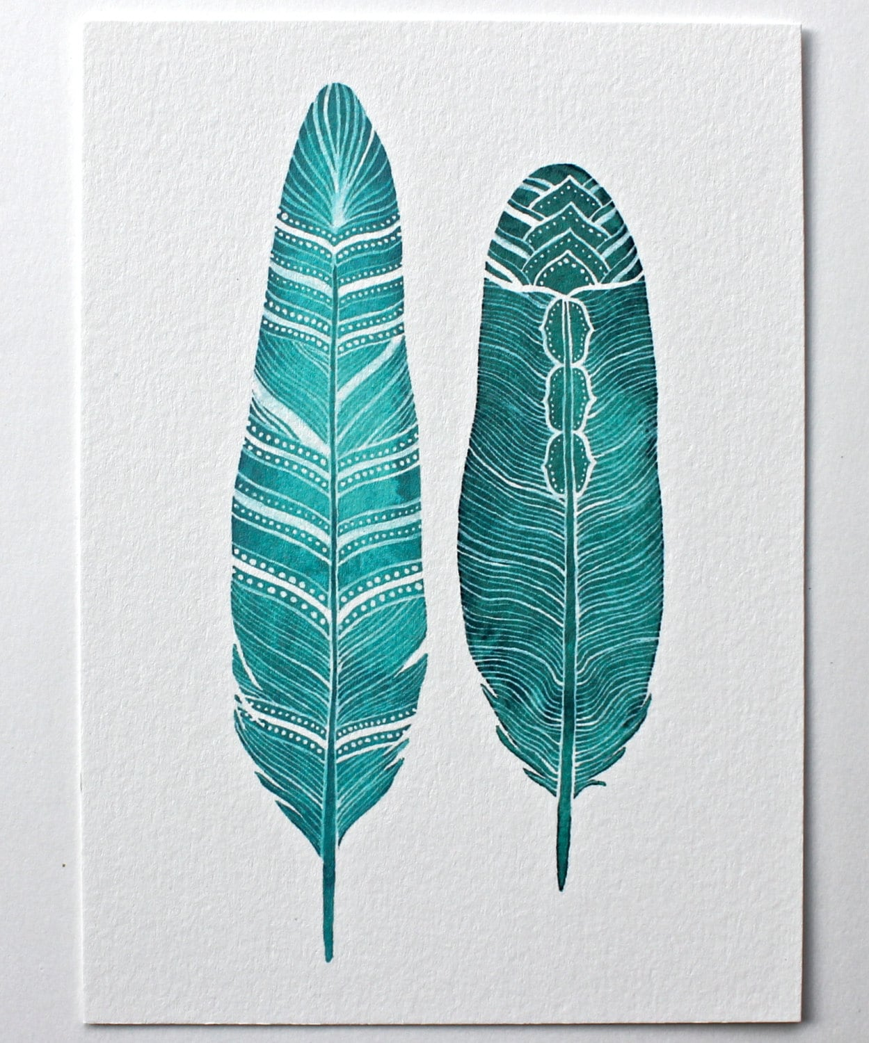 Feather Watercolor Art Painting - Archival Print - 8x10 River Song Feathers - RiverLuna