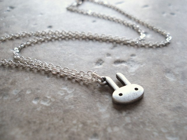 Hello Bunny -- A Rabbit Charm Necklace in Silver