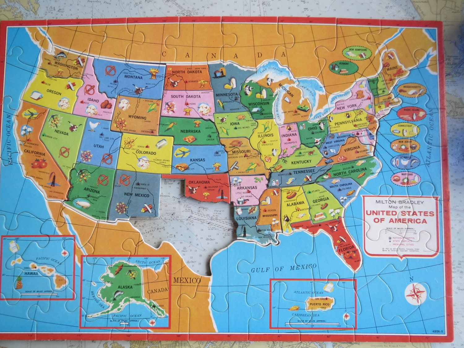 United States Map And Puzzle