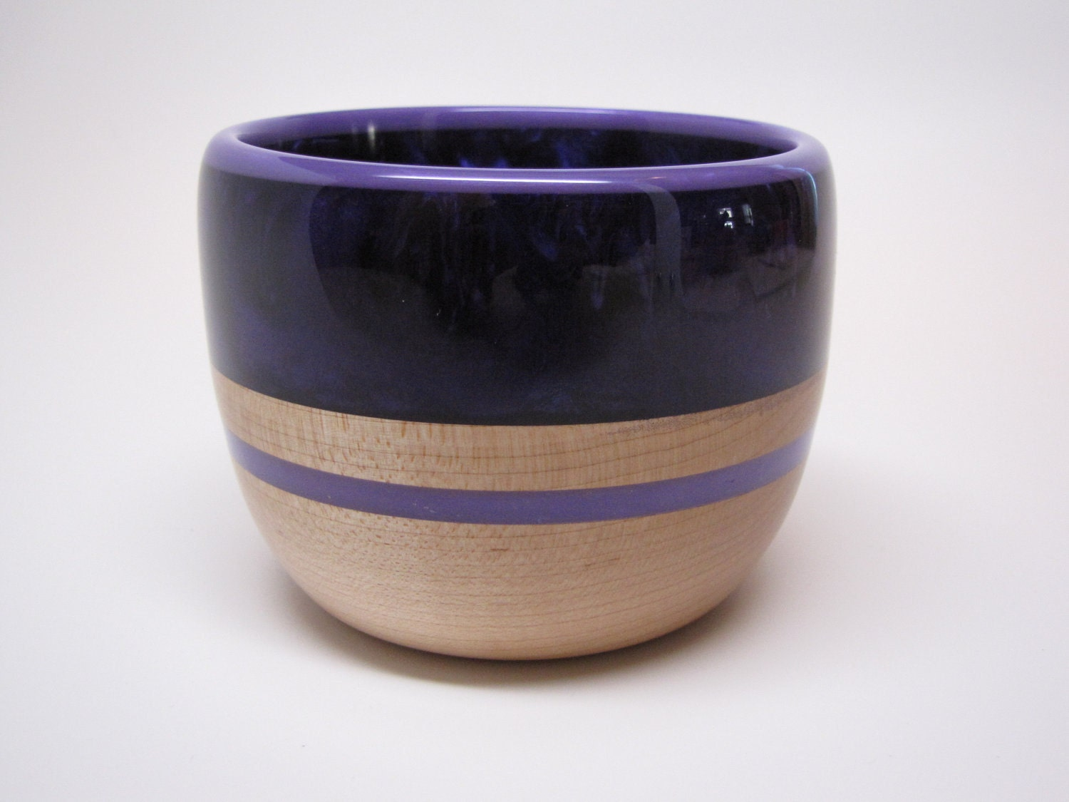 Hard Wood Maple Bowl with a Dark Purple Pearl Top &Purple Inlay