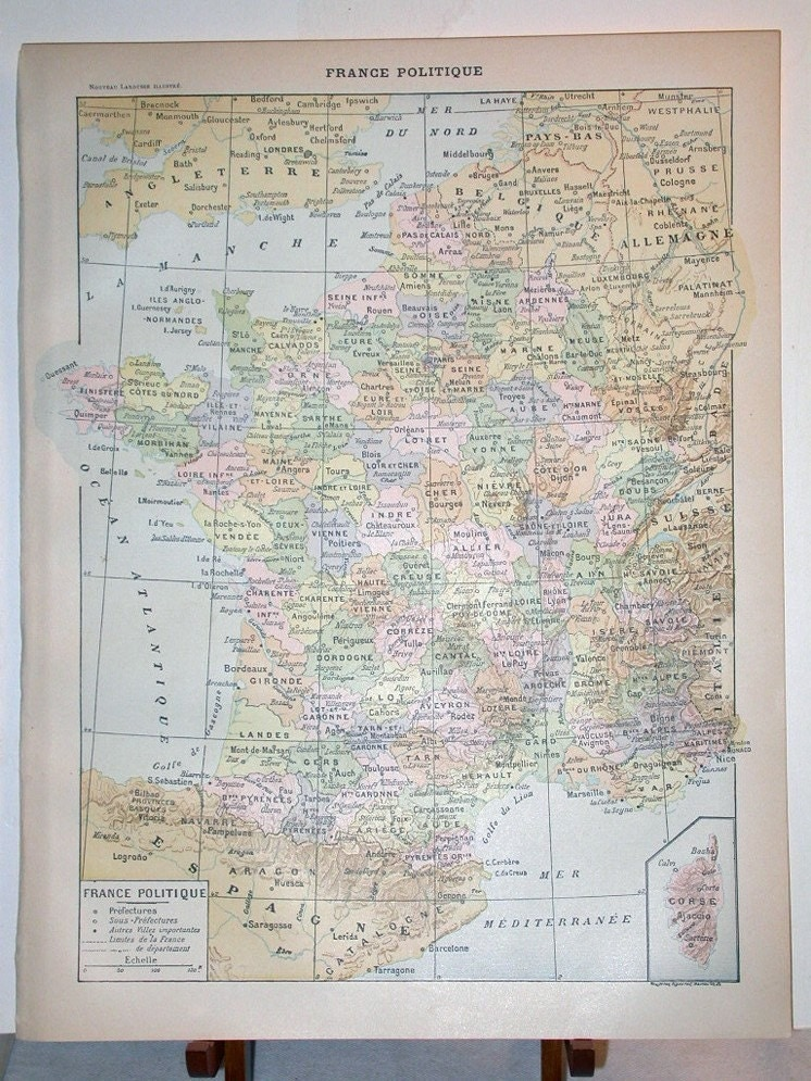 political maps of france. Antique Political Map of