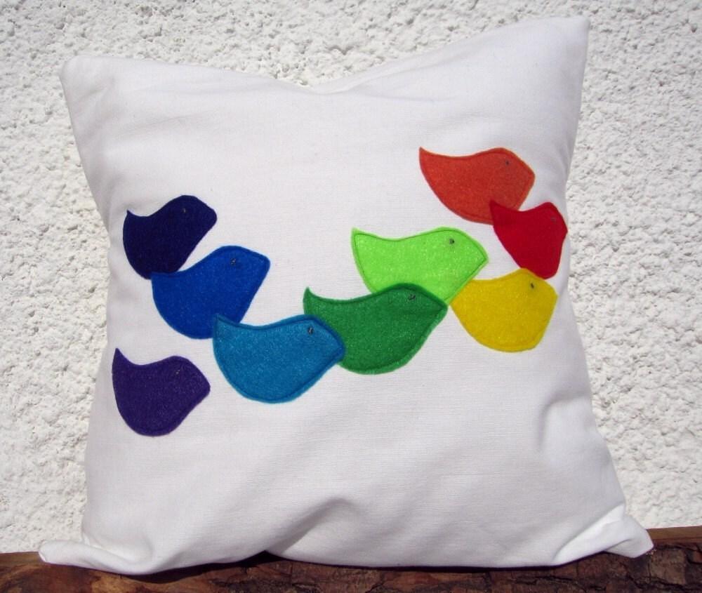 Handmade Appliqued Pillow Cover: Rainbow Birds