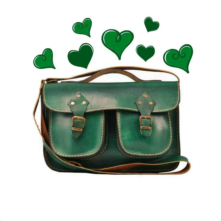 Green Leather Bag Messenger Bag Purse Tote Bag ipad Bag for men crossbody leather messenger bag,christmas - ammaciyo