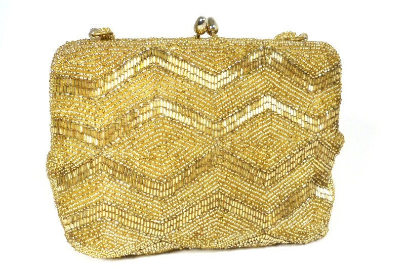 Gold Beaded Evening Purse