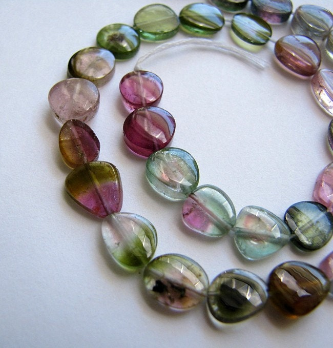 Strand AAA Watermelon Tourmaline Polished Slice Beads
