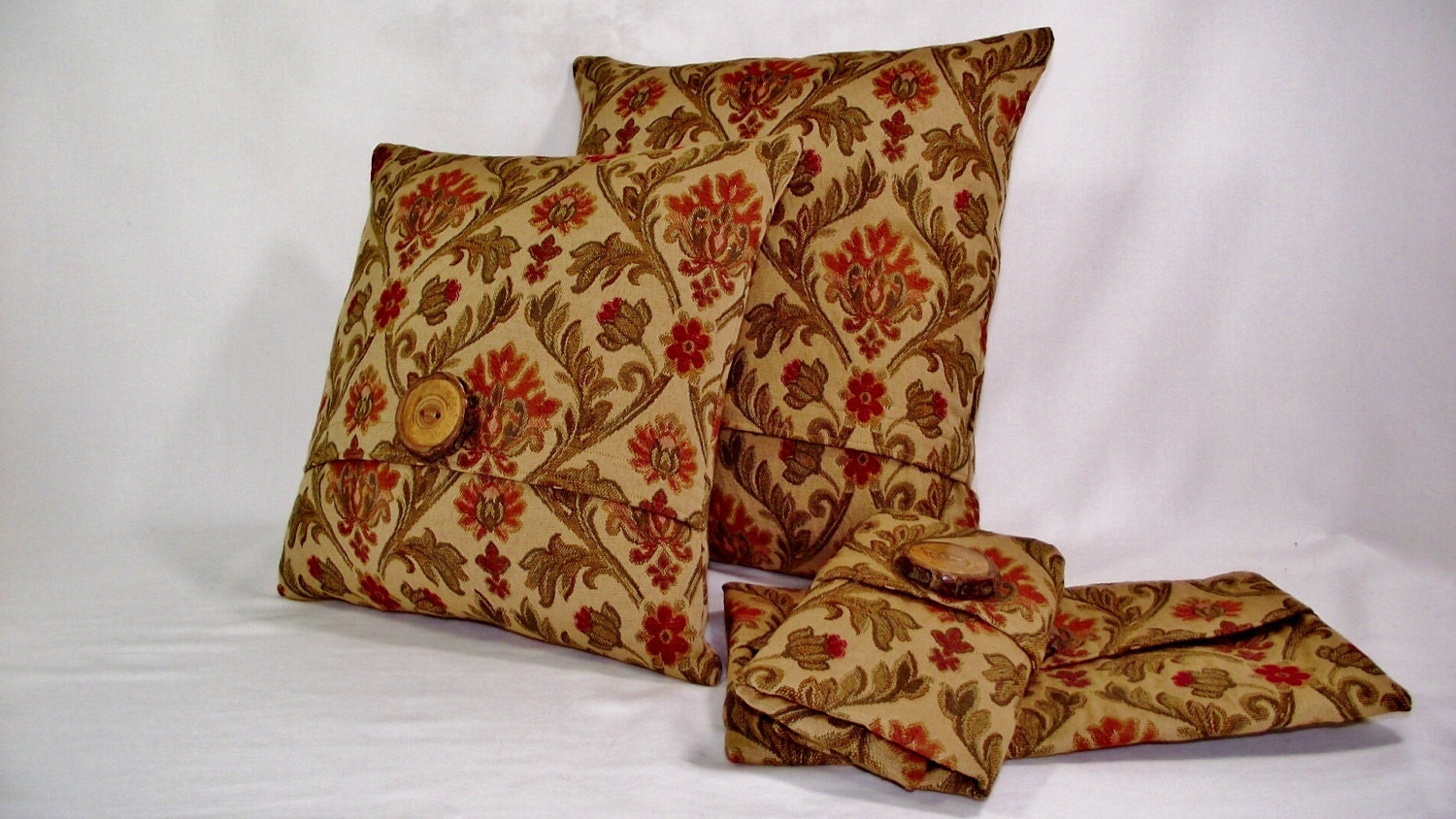 Pillow Cover in Tan Textured Fabric with Burnt Orange, Rust Red and Olive Tones - whiteoakroom