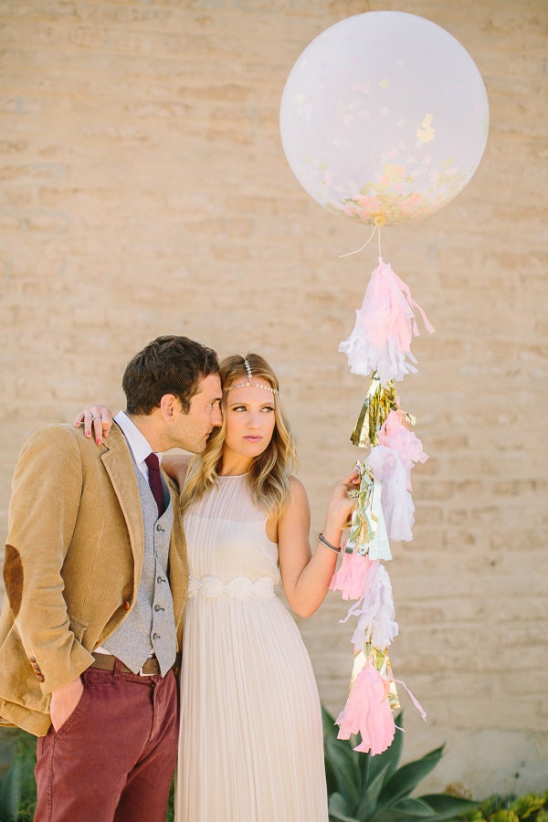 "36"" Round Confetti Balloon with Tassels - As Seen on Ruffled Blog and Hostess with the Mostess - onestylishparty"