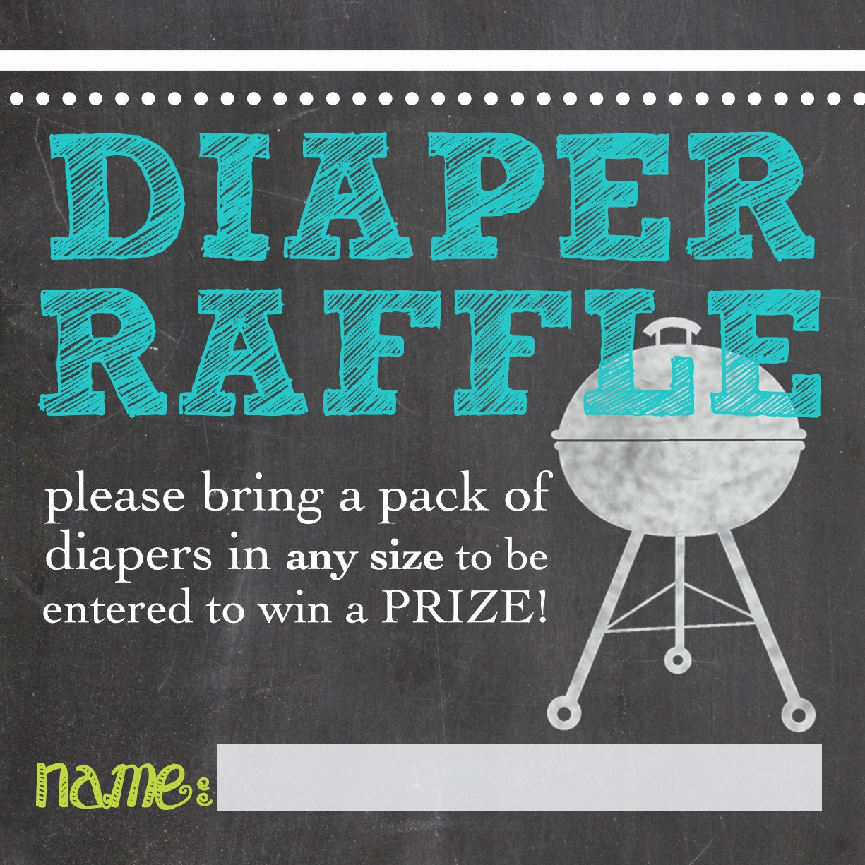 bbq baby shower diaper raffle printable custom by katesprintables