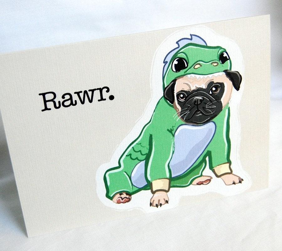 Lil Dragon Pug Greeting Card