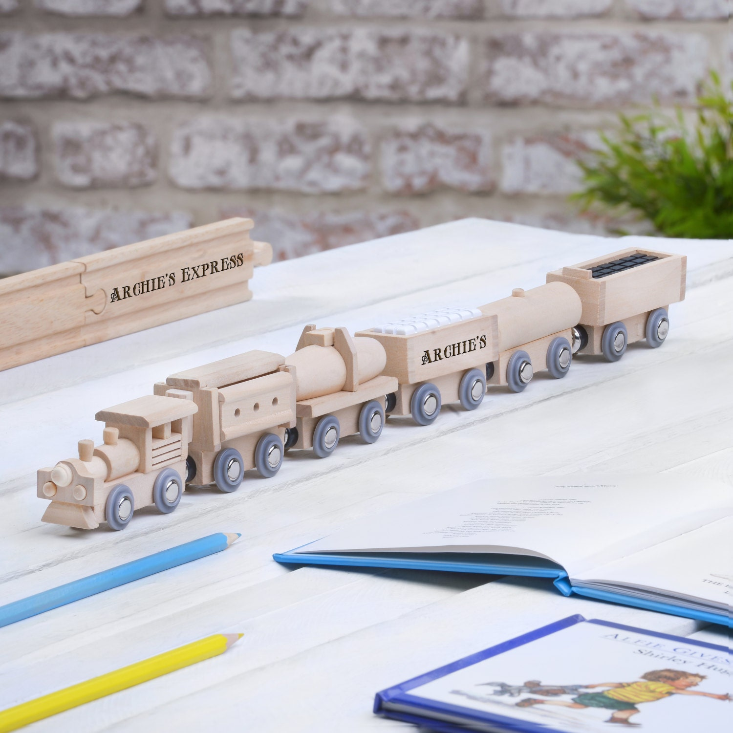 Personalised Wooden Freight Train Personalised Wooden Name Train Name Train Wooden Name Train Wooden Train Baby Name Train
