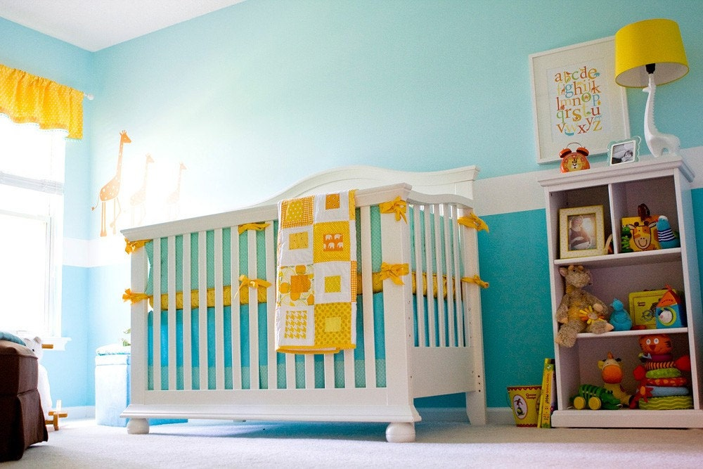 3 Piece Crib Set - SKIRT, SHEET and BUMPER with piping