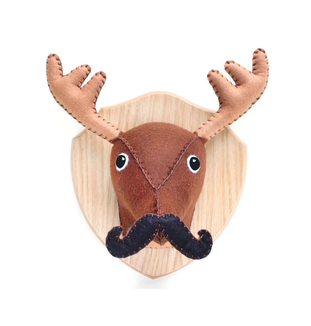 Medium monsieur mustache plush brown deer moose by aicreatures - Fake stuffed moose head ...