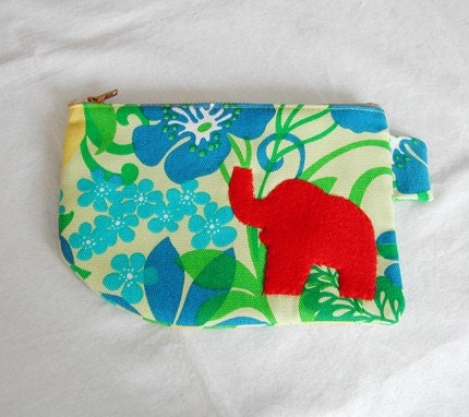 Tropical Floral Red Bird Pouch