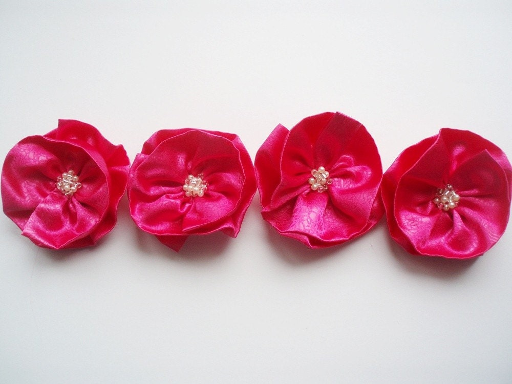 Hot Pink Flowers Handmade Appliques by BizimSupplies on Etsy from etsy.com