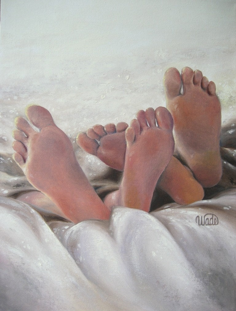 Perfect Pair Print, wedding gift, love, art, romance paintings, naked feet, bare feet, bedroom art, sexy, wedding, cream. Vickie Wade - VickieWadeFineArt